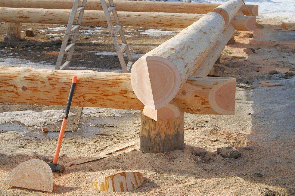Rustic Look for a Log Farm House