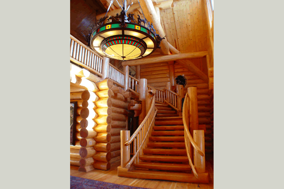 Luxury Log Home Staircase