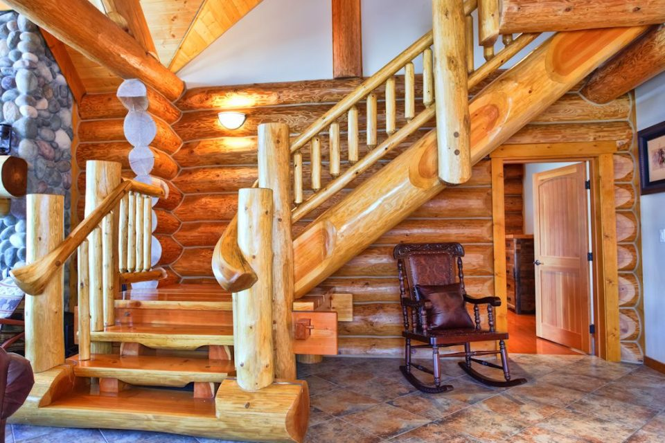 Log Cabin Handcrafted Staircase
