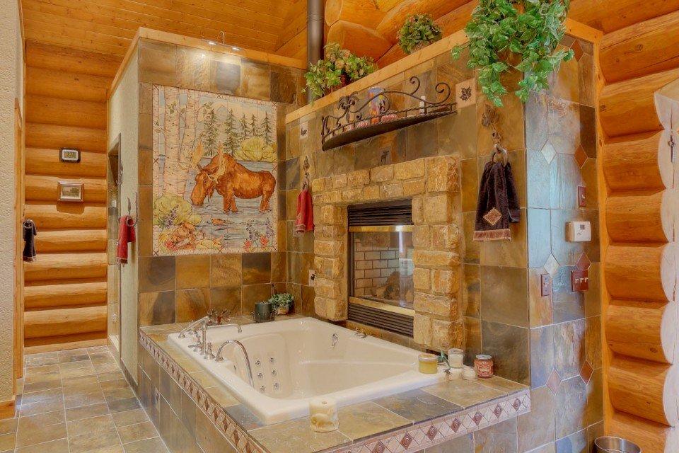 Log Home Master Bathroom