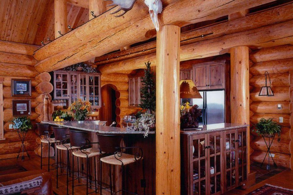 Rustic Log Bar Area