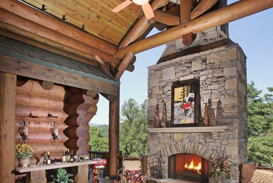 Log Outdoor Fireplace